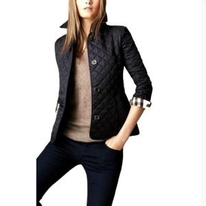Authentic Burberry diamond quilted black jacket
